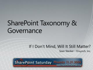 SharePoint Taxonomy & Governance