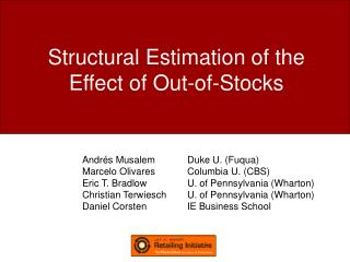 Structural Estimation of the Effect of Out-of-Stocks