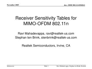 Receiver Sensitivity Tables for MIMO-OFDM 802.11n