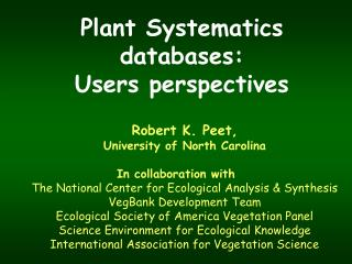 Plant Systematics  databases: Users perspectives