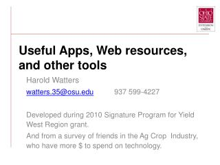 Useful Apps, Web resources,  and other tools
