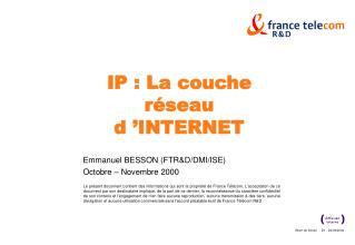 IP : La couche réseau d'INTERNET