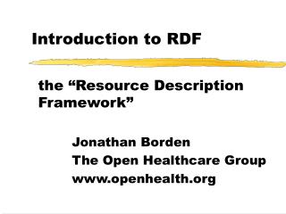 Introduction to RDF