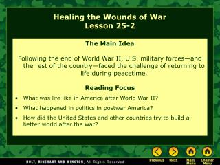 Healing the Wounds of War Lesson 25-2