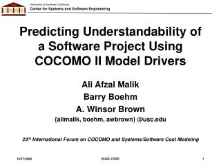Predicting Understandability of a Software Project Using COCOMO II Model Drivers