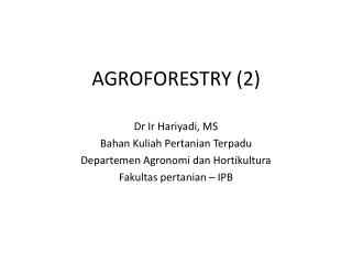 AGROFORESTRY (2)