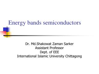 Energy bands semiconductors