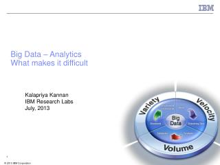 Big Data – Analytics  What makes it difficult
