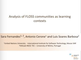 Analysis of  FLOSS  communities  as  learning contexts