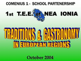 COMENIUS 1 -  SCHOOL PARTENERSHIP