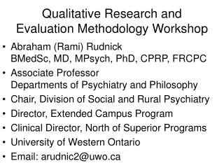 Qualitative Research and Evaluation Methodology Workshop