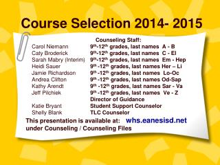 Course Selection 2014- 2015