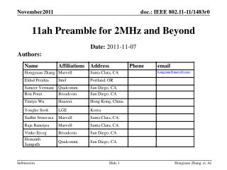 11ah Preamble for 2MHz and Beyond