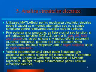 5. Analiza circuitelor electrice