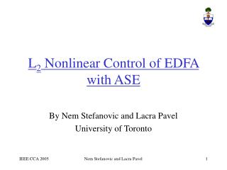 L 2  Nonlinear Control of EDFA with ASE