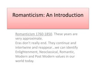 Romanticism: An Introduction