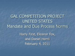 GAL COMPETITION PROJECT UNITED STATES Mandate and Due Process Norms