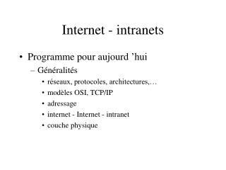 Internet - intranets