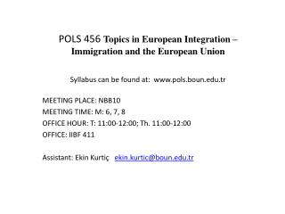 POLS 456  Topics in European Integration – Immigration and the European Union