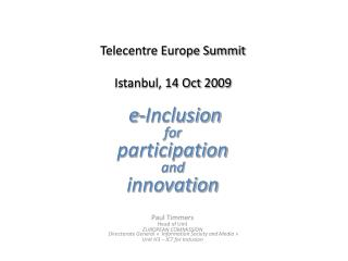 Telecentre Europe Summit Istanbul, 14 Oct  2009