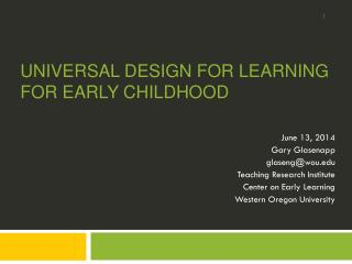 Universal design for Learning for early childhood