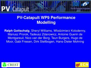 PV-Catapult WP9 Performance Modelling