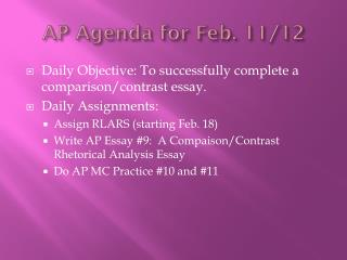AP Agenda for Feb. 11/12