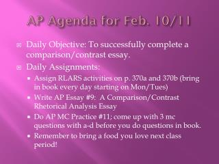 AP Agenda for Feb.  10/11