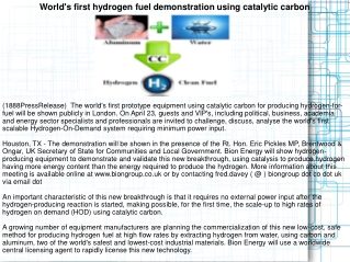 World's first hydrogen fuel demonstration using catalytic ca