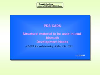 PDS-XADS Structural material to be used in lead-bismuth Development Needs