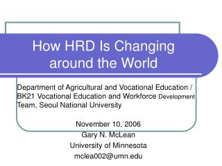 How HRD Is Changing around the World