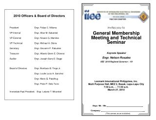 invites you to General Membership Meeting and Technical Seminar