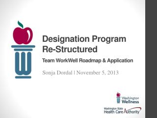 Designation Program Re-Structured Team  WorkWell  Roadmap & Application