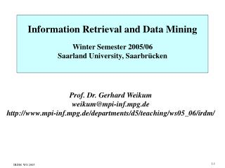 Information Retrieval and Data Mining
