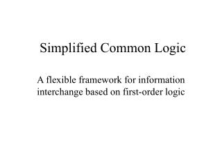 Simplified Common Logic