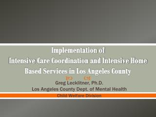 Greg Lecklitner, Ph.D. Los Angeles County Dept. of Mental Health Child Welfare Division