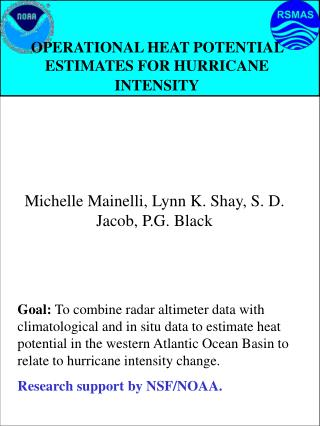 OPERATIONAL HEAT POTENTIAL ESTIMATES FOR HURRICANE INTENSITY