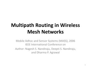 Multipath Routing in Wireless Mesh Networks