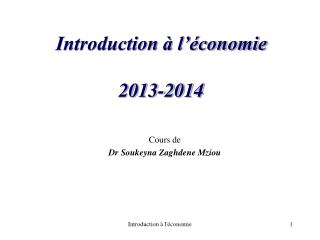 Introduction à l'économie 2013-2014