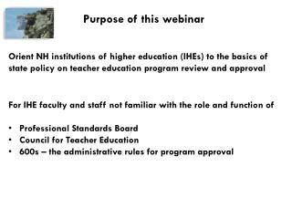Purpose of this webinar