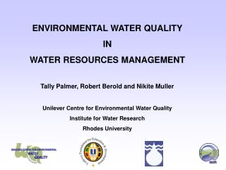 ENVIRONMENTAL WATER QUALITY IN WATER RESOURCES MANAGEMENT