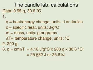 The candle lab: calculations