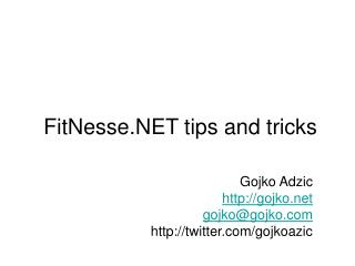 FitNesse.NET tips and tricks