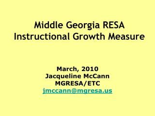 Middle Georgia RESA Instructional Growth Measure