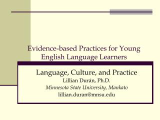 Evidence-based Practices for Young English Language Learners