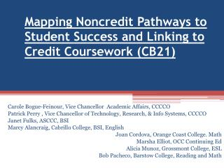 Mapping Noncredit Pathways to Student Success and Linking to Credit Coursework (CB21)