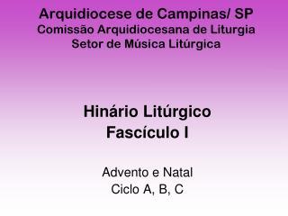 Arquidiocese de Campinas/ SP Comissão Arquidiocesana de Liturgia Setor de Música Litúrgica