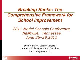 Breaking Ranks: The Comprehensive Framework for School Improvement