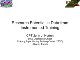 Research Potential in Data from Instrumented Training