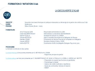 FORMATION D 'INITIATION X-lab